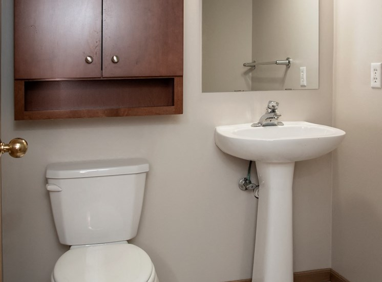 powder room with pedestal sink