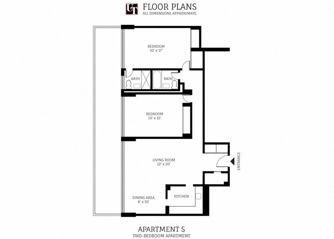 2 Bed 2 Bath Floor Plan 3