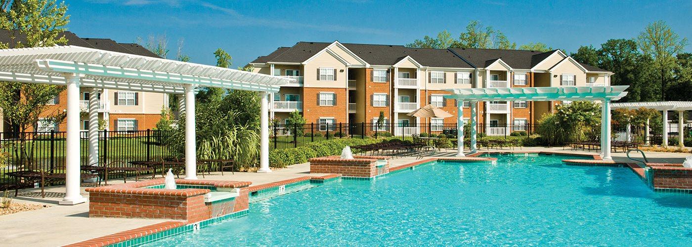 Pool with pergolas; fountains