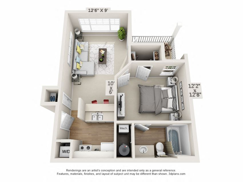 This is a 3D floor plan of a 563 square foot 1 bedroom Catamaran at Nantucket Apartments in Loveland, OH.