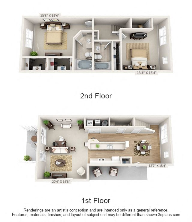 This is a 3D floor plan of a 1389 square foot 2 bedroom Yachtsman townhome at Nantucket Apartments in Loveland, OH.