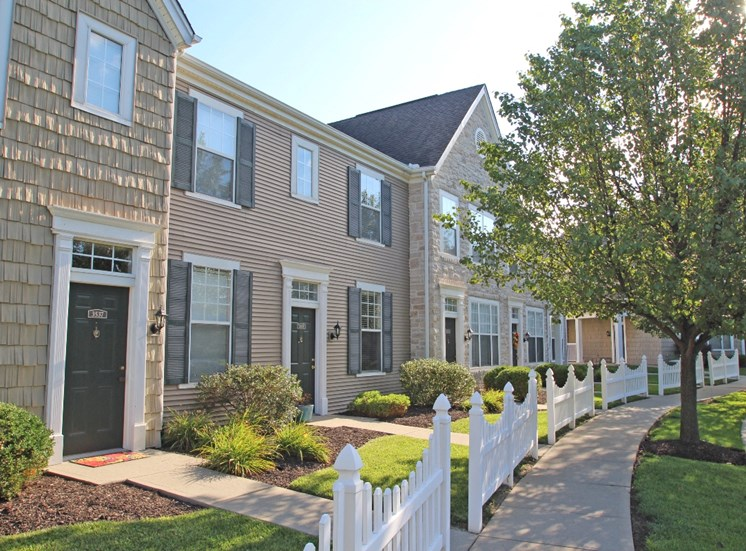 This is a picture of a townhome exterior at Nantucket Apartments, in Loveland, OH.