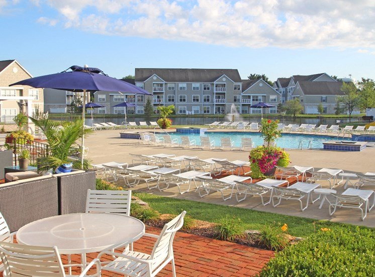 This is a picture of the pool area at Nantucket Apartments, in Loveland, OH.