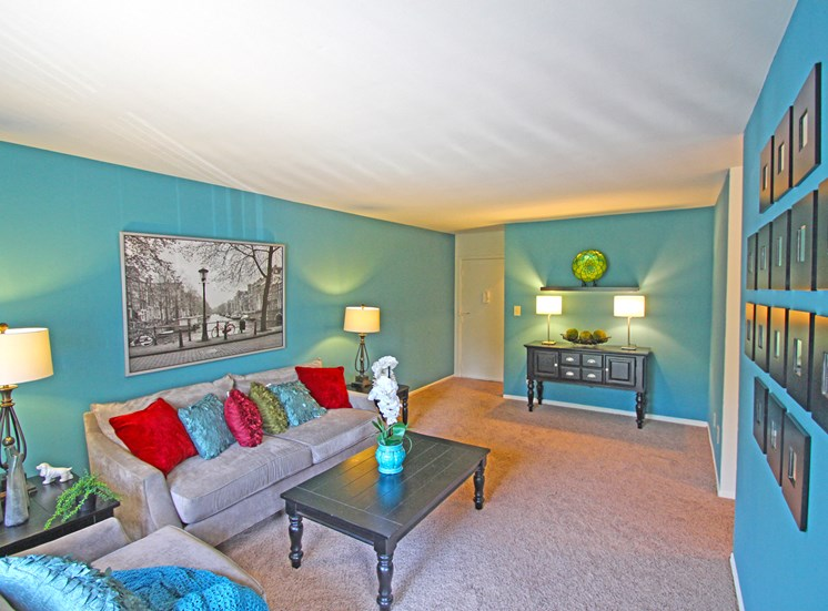 This is a photo of the living room of the 2 bedroom model apartment at Blue Grass Manor Apartments in Erlanger, KY