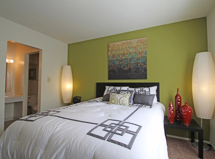 This is a photo of the master bedroom of the 2 bedroom model apartment at Blue Grass Manor Apartments in Erlanger, KY