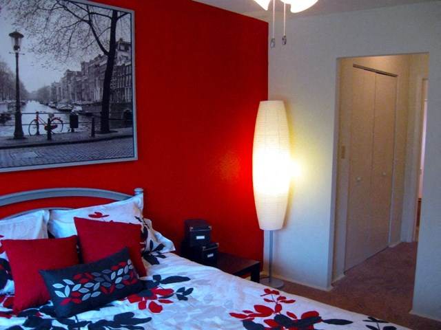 This is a photo of the bedroom of a 631 square foot 1 bedroom apartment at Colonial Ridge Apartments in Cincinnati, OH.