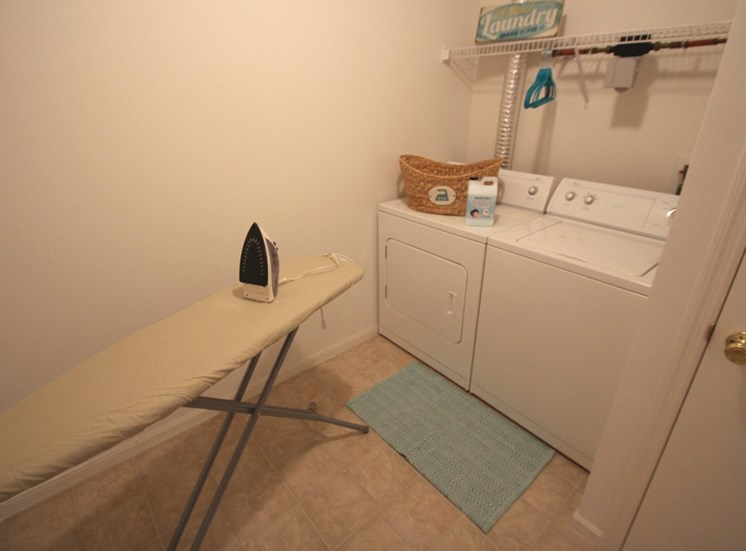 This is a photo of the utility room in the 1040 square foot 2 bedroom Patriot at Washington Place Apartments in Washington Township, OH.