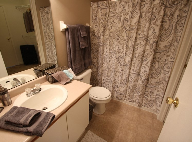 This is a photo of the bathroom in the 1040 square foot 2 bedroom Patriot at Washington Place Apartments in Washington Township, OH.