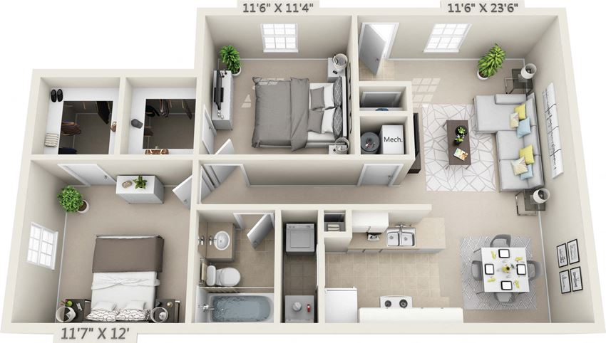 This is a 3D floor plan of a 890 square foot 2 bedroom Liberty at Washington Place Apartments in Washington Township, OH