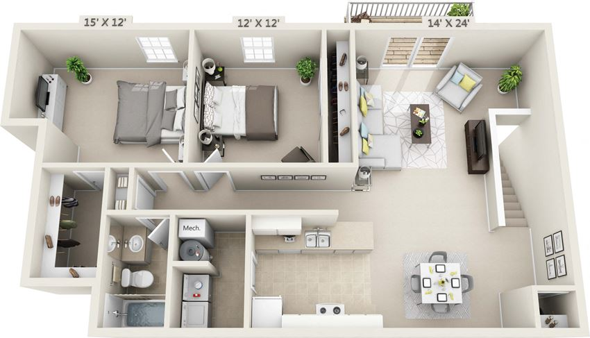 This is a 3D floor plan of a 1040 square foot 2 bedroom Patriot at Washington Place Apartments in Washington Township, OH