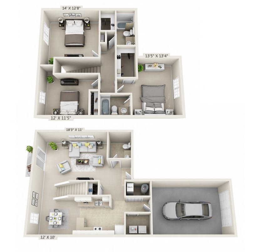This is a 3D floor plan of a 1490 square foot 3 bedroom Presidential at Washington Place Apartments in Washington Township, OH