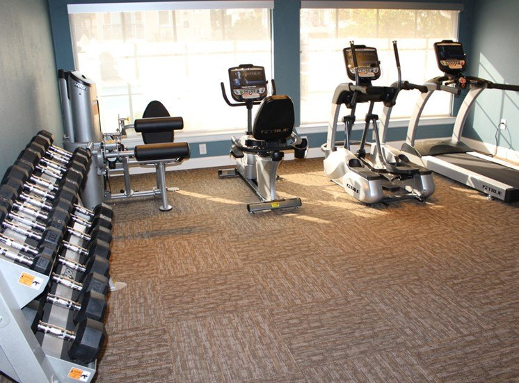 This is a photo of the fitness center at The Summit at Midtown in Dallas, TX.