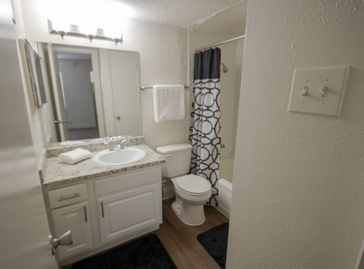 This is a photo of the bathroom of the 515 square foot 1 bedroom apartment at Canyon Creek Apartments in Dallas, TX