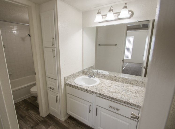 This is a photo of the bathroom of the 550 square foot 1 bedroom apartment at Canyon Creek Apartments in Dallas, TX