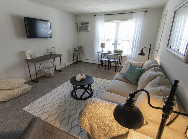 This is a photo of the living room in the 740 square foot 1 bedroom model apartment at Compton Lake Apartments in Mt. Healthy, OH.