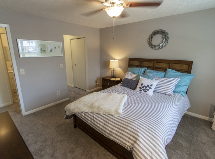 This is a photo of the bedroom in the 740 square foot 1 bedroom model apartment at Compton Lake Apartments in Mt. Healthy, OH.