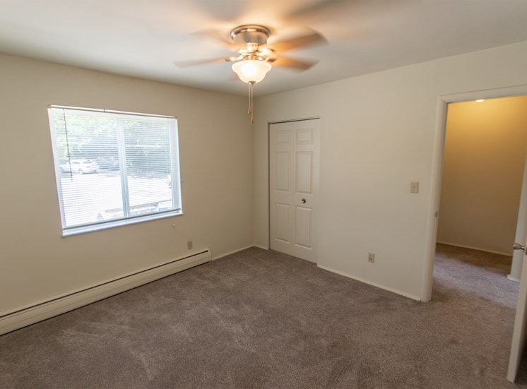 This is a photo of the bedroom in the 1004 square foot, 2 bedroom townhome floor plan at Colonial Ridge Apartments in Cincinnati, OH.