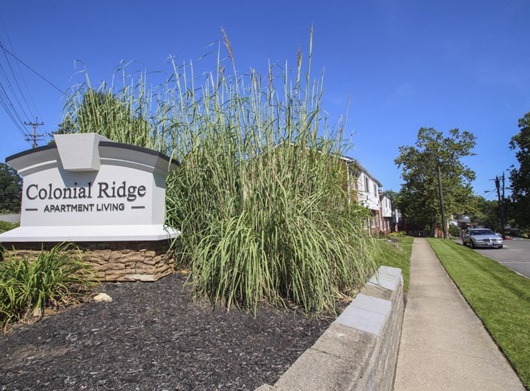 This is a photo of the main entrance sign at Colonial Ridge Apartments in Cincinnati, OH.