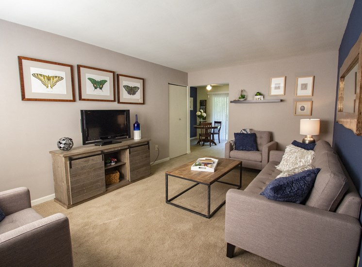 This is a photo of the living room of the 550 square foot 1 bedroom, balcony floor plan model apartment at College Woods Apartments in Cincinnati, OH.
