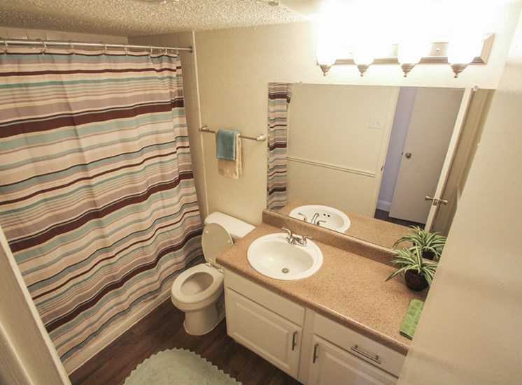 This is a photo of the bathroom of the 880 square foot 2 bedroom apartment at Canyon Creek Apartments in Dallas, TX