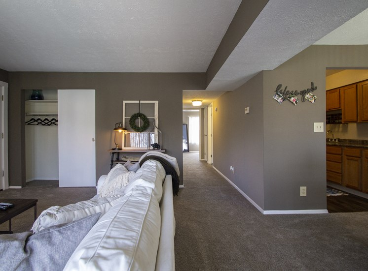 This is a photo of the living room in a 2 bedroom apartment at Deer Hill Apartments in Cincinnati, OH.