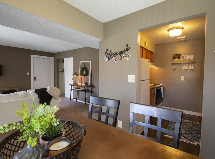 This is a photo of the dining room in a 2 bedroom apartment at Deer Hill Apartments in Cincinnati, OH.