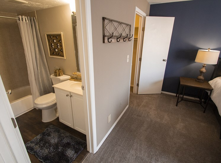 This is a photo looking onto the master bathroom in a 2 bedroom apartment at Deer Hill Apartments in Cincinnati, OH.