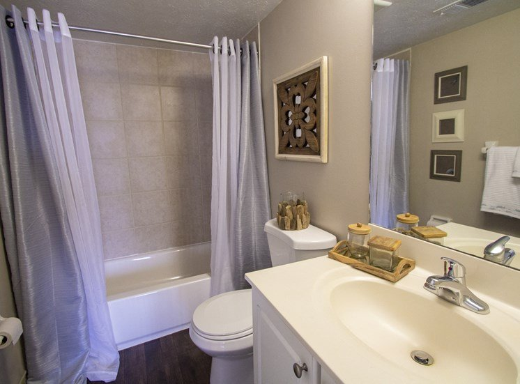 This is a photo of the master bathroom of a 2 bedroom apartment at Deer Hill Apartments in Cincinnati, OH.