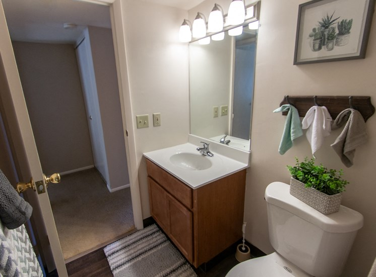 This is a picture of the bathroom in the 980 square foot, 2 bedroom model apartment at Fairfield Pointe Apartments in Fairfield, Ohio.