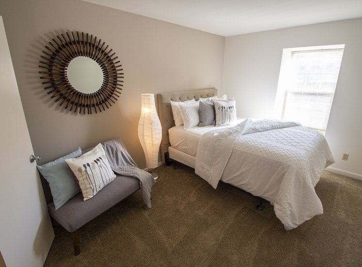 This is a picture of the master bedroom of the 980 square foot 2 bedroom apartment at Fairfield Pointe Apartments in Fairfield, Ohio