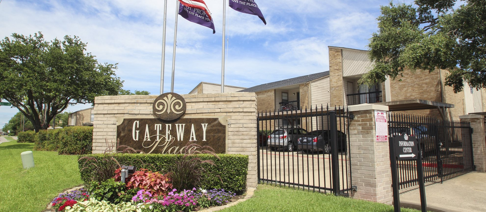 This is a picture of the entrance gate at Gateway Place Apartments in Garland, TX.