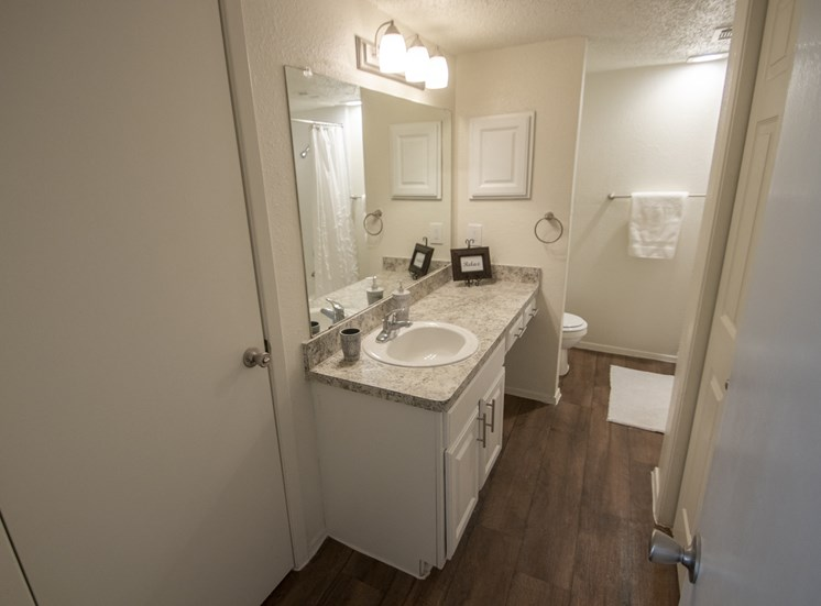 This is a photo of the bathroom in the 690 square foot 1 bedroom apartment at Gateway Place Apartments in Garland, TX.