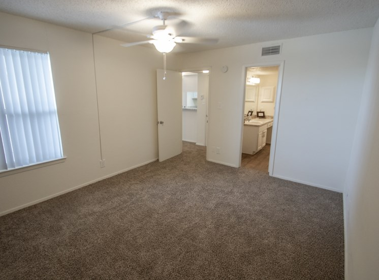 This is a photo of the bedroom in the 690 square foot 1 bedroom apartment at Gateway Place Apartments in Garland, TX.