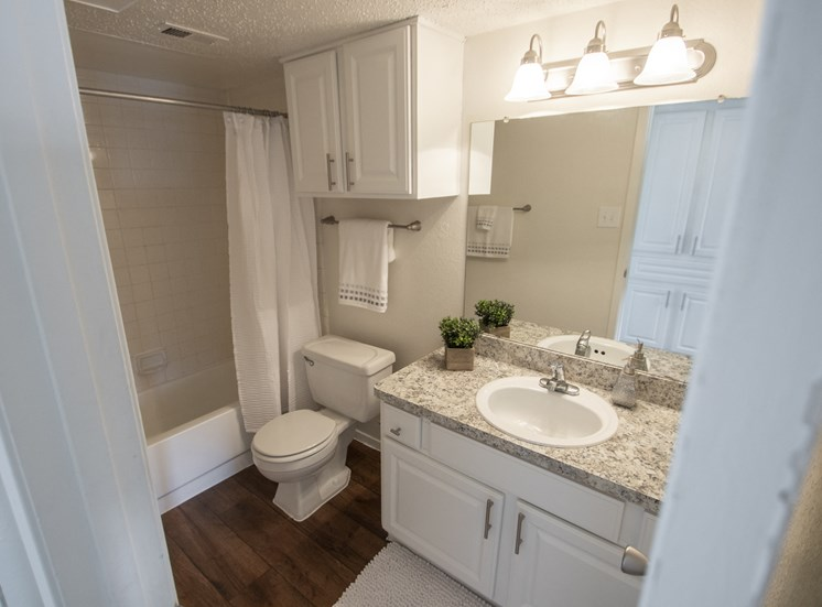 This is a photo of the bathroom in the 915 square foot 2 bedroom apartment at Gateway Place Apartments in Garland, TX.