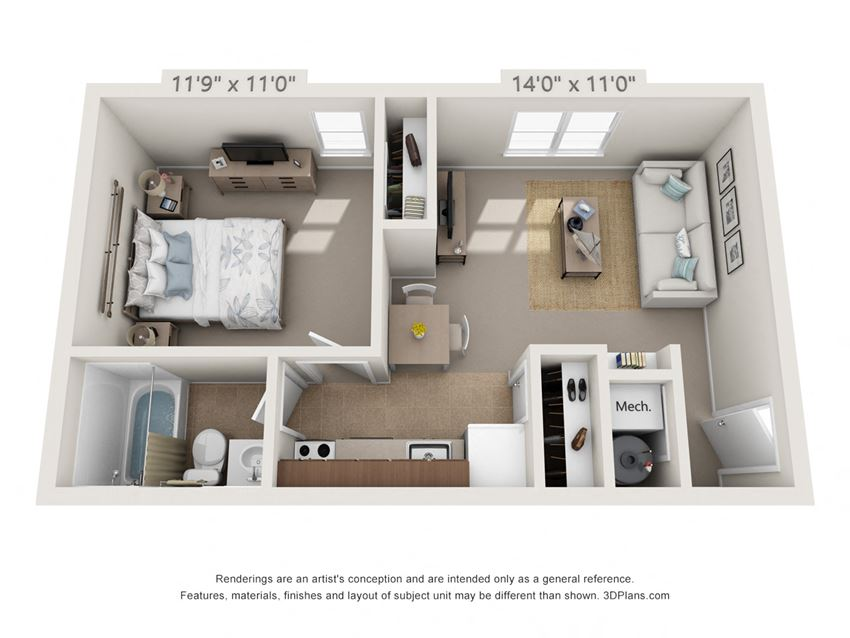 This is a 3D floor plan of a 500 square foot 1 bedroom Cedar at Montana Valley Apartments in Cincinnati, OH.