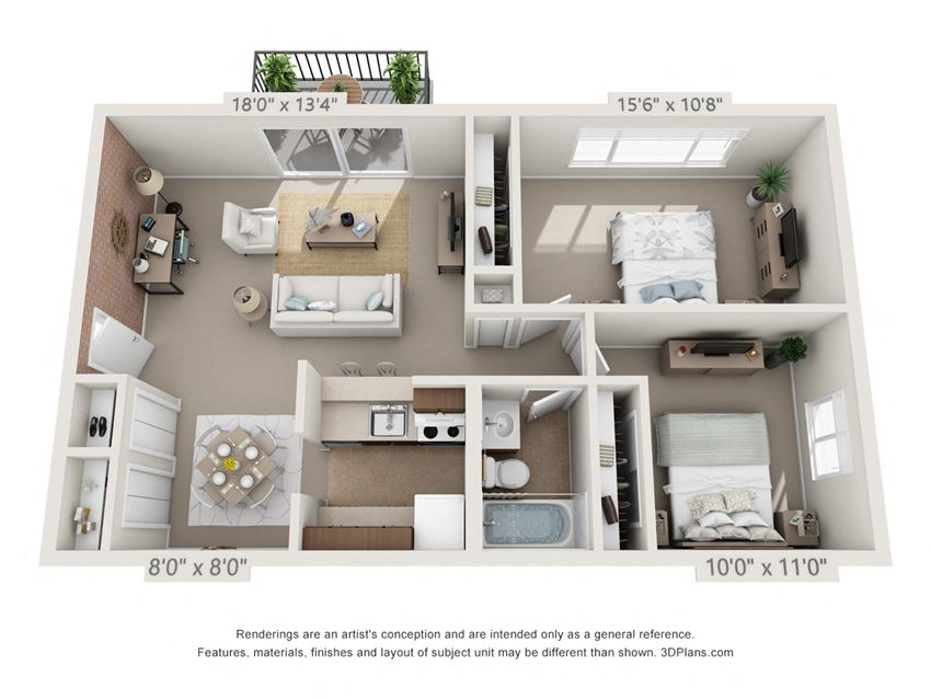 This is a 3D floor plan of a 833 square foot 1 bedroom Chestnut with balcony at Montana Valley Apartments in Cincinnati, OH.