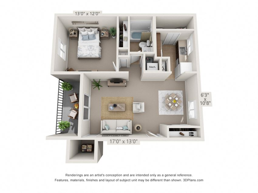 This is a 3D floor plan of a 716 square foot 1 bedroom Cypress at Montana Valley Apartments in Cincinnati, OH.