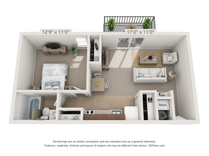 This is a 3D floor plan of a 560 square foot 1 bedroom Elm at Montana Valley Apartments in Cincinnati, OH.