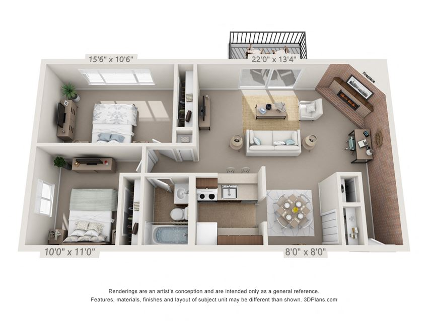 This is a 3D floor plan of a 925 square foot 1 bedroom Chestnut with balcony at Montana Valley Apartments in Cincinnati, OH.