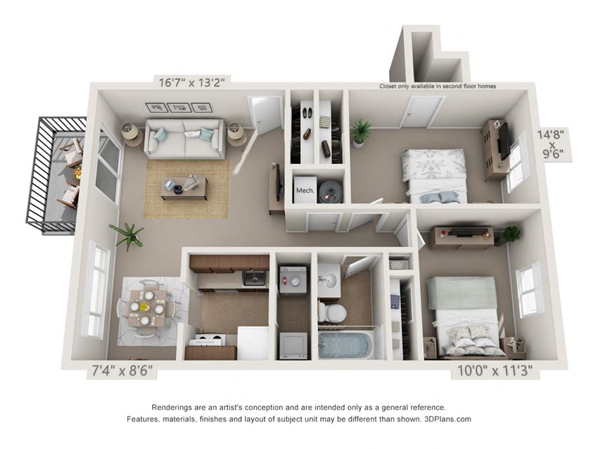 This is a 3D floor plan of a 836 square foot 1 bedroom Hickory with balcony at Montana Valley Apartments in Cincinnati, OH.