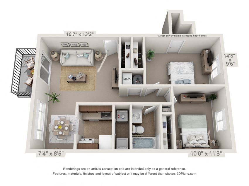 This is a 3D floor plan of a 836 square foot 1 bedroom Hickory with patio at Montana Valley Apartments in Cincinnati, OH.