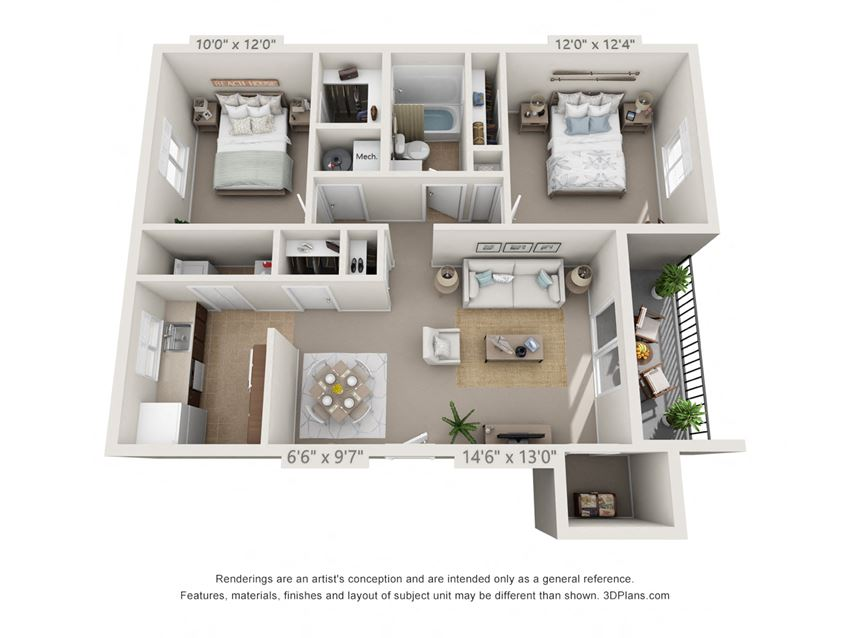 This is a 3D floor plan of a 851 square foot 2 bedroom Maple with patio at Montana Valley Apartments in Cincinnati, OH.