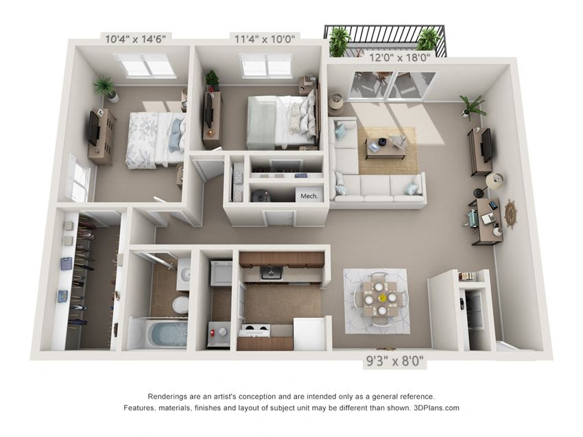 This is a 3D floor plan of a 1030 square foot 2 bedroom Oak with balcony at Montana Valley Apartments in Cincinnati, OH.