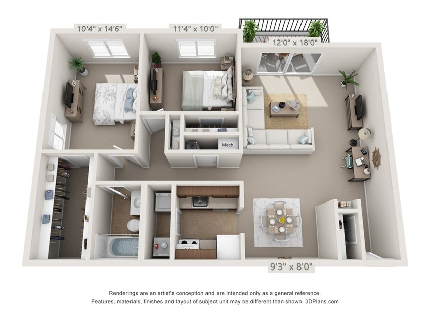 This is a 3D floor plan of a 1030 square foot 2 bedroom Oak with patio at Montana Valley Apartments in Cincinnati, OH.