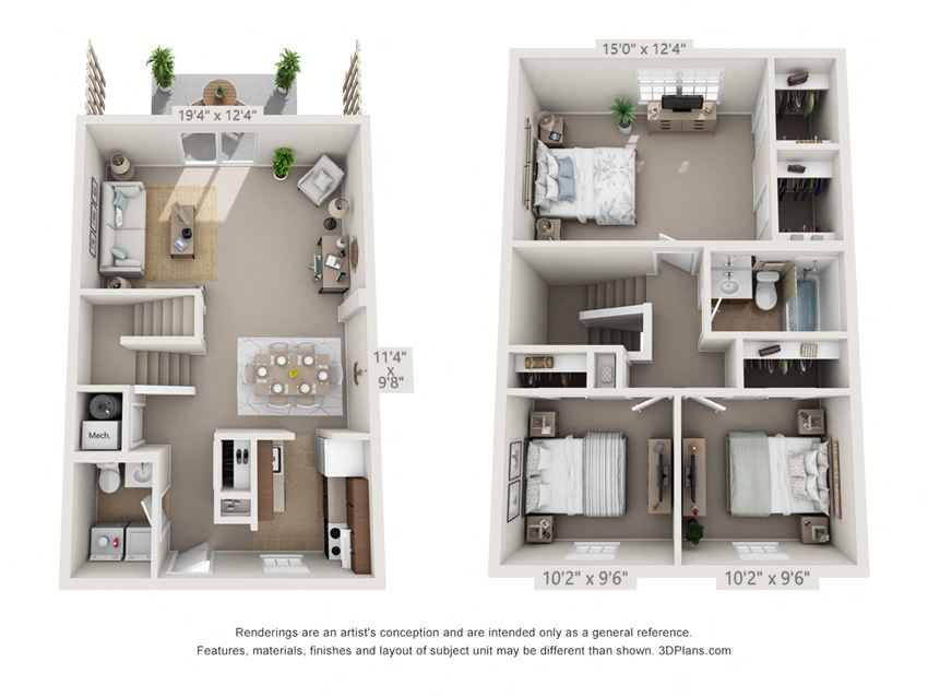 This is a 3D floor plan of a 1310 square foot 3 bedroom Pine townhome at Montana Valley Apartments in Cincinnati, OH.