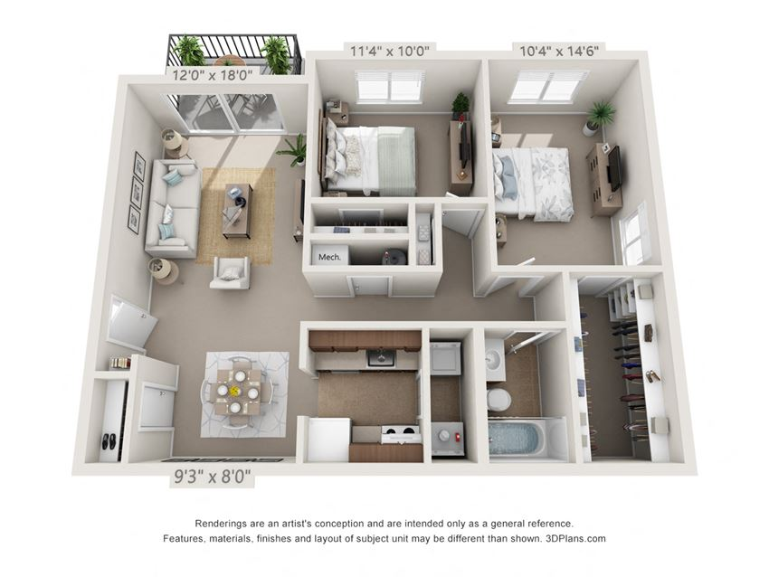 This is a 3D floor plan of a 940 square foot 2 bedroom Sycamore with balcony at Montana Valley Apartments in Cincinnati, OH.