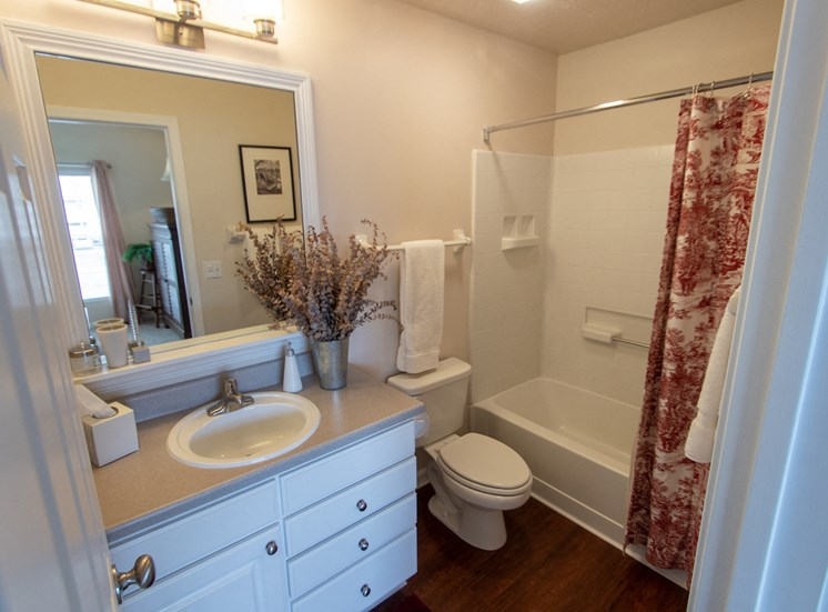 This is a photo of the master bathroom in the 1016 square foot, 2 bedroom Nautica floor plan at Nantucket Apartments in Loveland, OH.