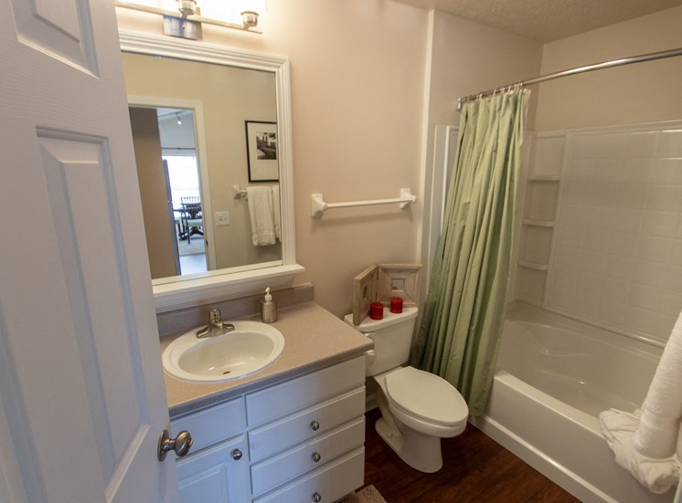 This is a photo of the bathroom in the 1016 square foot, 2 bedroom Nautica floor plan at Nantucket Apartments in Loveland, OH.