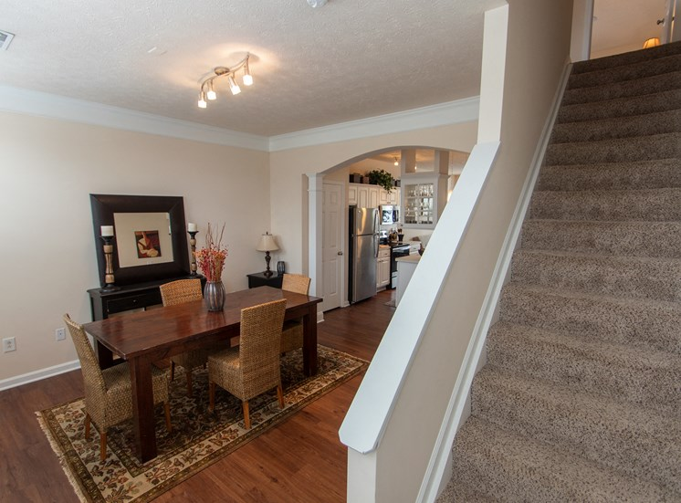 This is a photo of the dining room in the 1242 square foot, 2 bedroom Spinnaker floor plan at Nantucket Apartments in Loveland, OH.