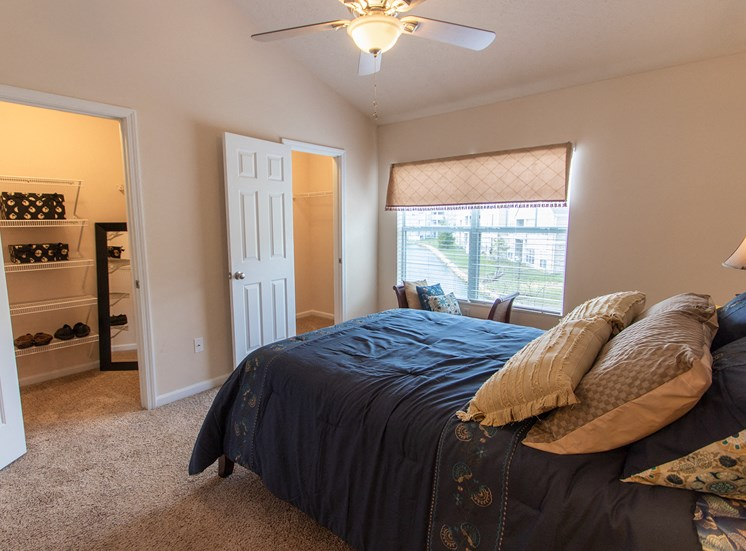 This is a photo of the master bedroom in the 1242 square foot, 2 bedroom Spinnaker floor plan at Nantucket Apartments in Loveland, OH.